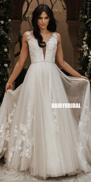Charming Deep V-neck Tulle A-line Backless Lace Wedding Dress, FC3845