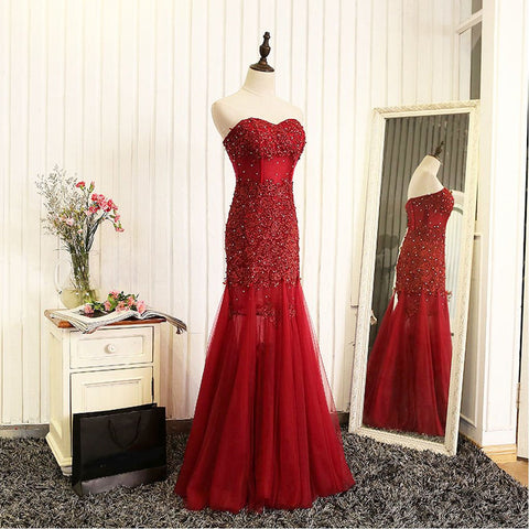 Long Prom Dresses, Tulle Prom Dresses, Sleeveless Prom Dresses, Lace Evening Dresses,  Prom Dresses , Beading Prom Dresses, Floor-Length Prom Dress, LB0388