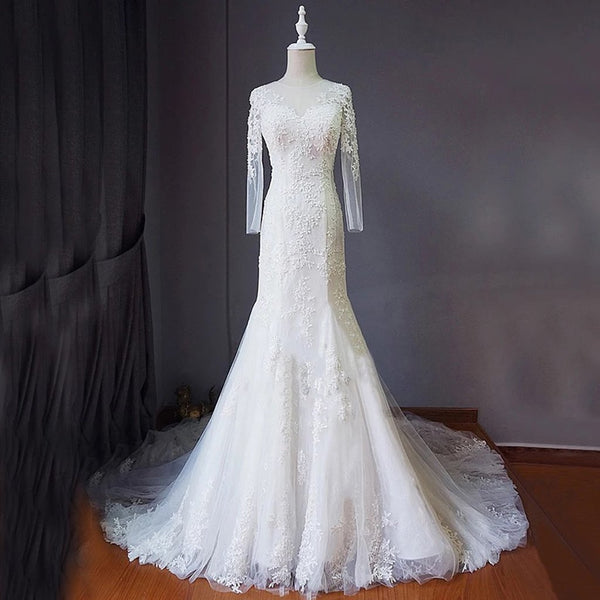 Long Wedding Dress, Applique Wedding Dress, Tulle Bridal Dress, Long Sleeve Wedding Dress, Lace Wedding Dress, Wedding Dress with Train, Backless Wedding Dress, LB0390