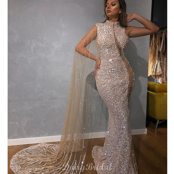 Luxury Sparkly Sequin Beaded Mermaid Long Sleeve Tulle Prom Dresses, FC4058