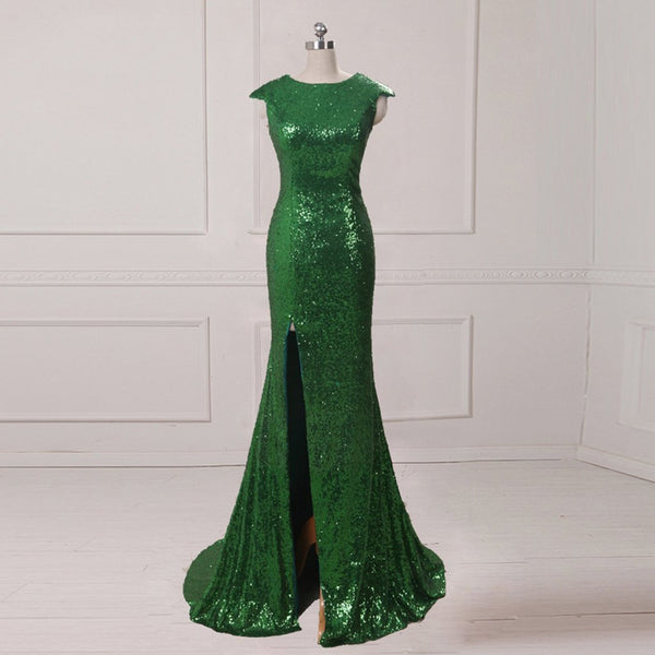 Long Prom Dresses, Sequin Prom Dresses, Cap Sleeve Prom Dresses, Side Split Evening Dresses, Mermaid Prom Dresses , Floor-Length Prom Dress, LB0396