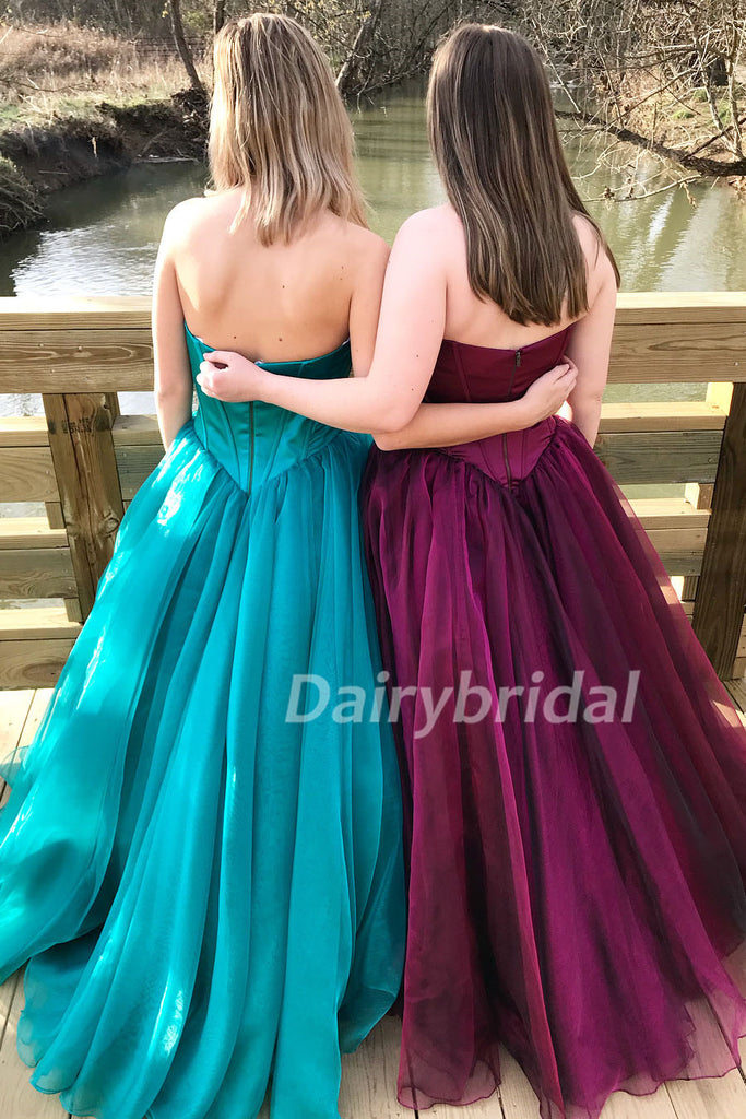 Sweet Heart A-Line Backless Simple Design Prom Dress, Cheapest Tulle Prom Dress, D397