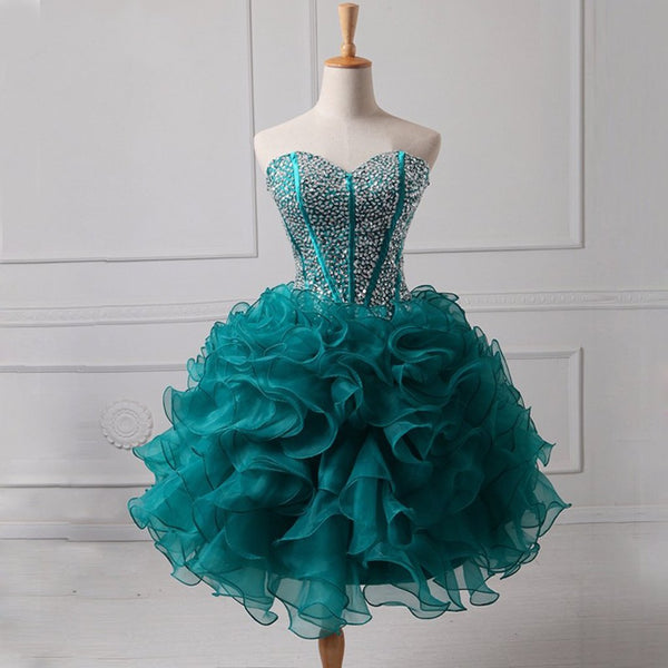 Short Homecoming Dress, Organza Homecoming Dress, Sweet Heart Homecoming Dress, Sequin Junior School Dress, Beading Homecoming Dress, A-Line Homecoming Dress, LB0397