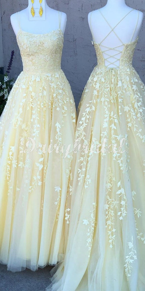 Charming  Spaghetti Straps Lace A-line Sleeveless Yellow Prom Dresses, FC3981