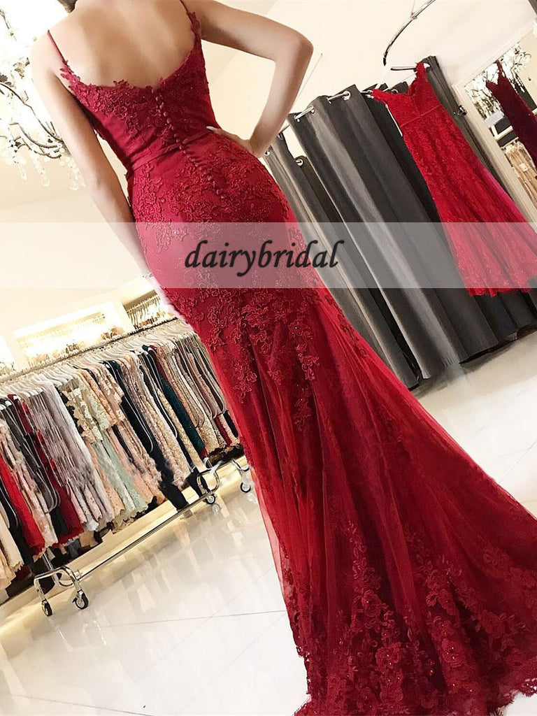 Red Spaghetti Straps Applique Prom Dresses, Tulle Mermaid Prom Dresses, D399