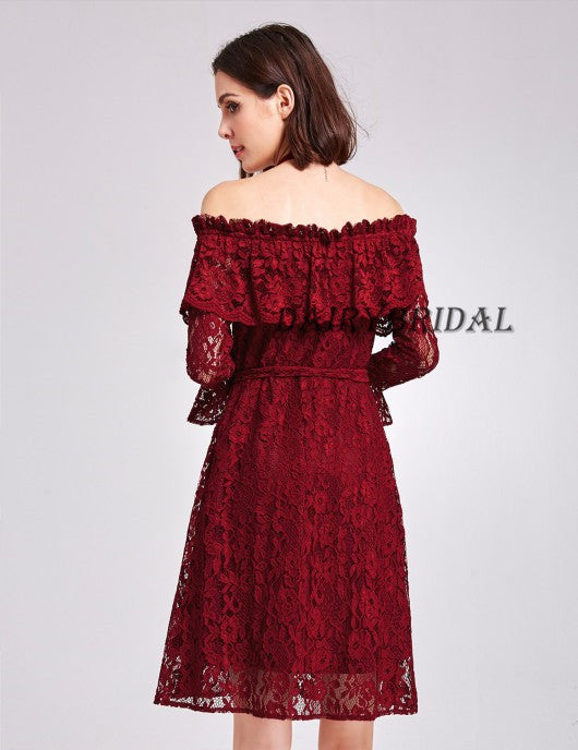 Off the Shoulder Homecoming Dress, Lace Homecoming Dress, Long Sleeve Homecoming Dress, Knee-Length Homecoming Dress, Backless Homecoming Dress, D03