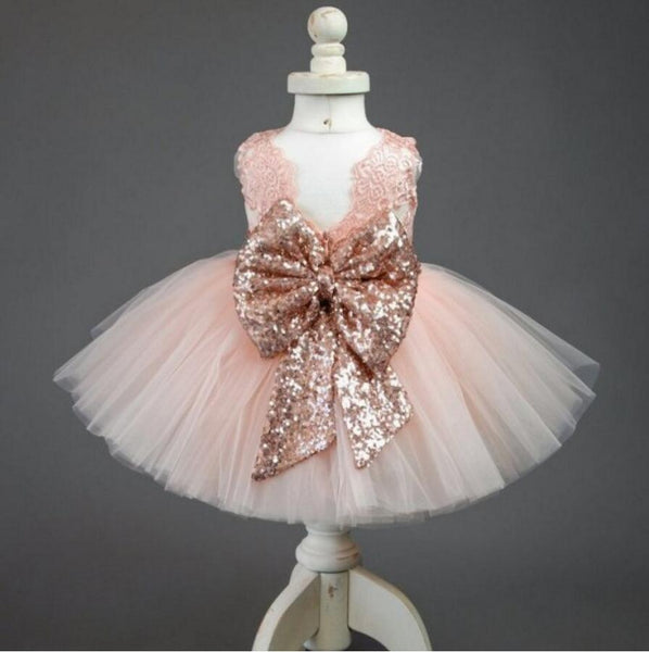 Pink Lace Tulle Bowknot Applique Flower Girl Dresses, Lovely Tutu Dresses, FGS004