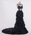 Black Mermaid Wedding dress,Feather Ruffles Organza Full Ruffles Bride dresses,220040