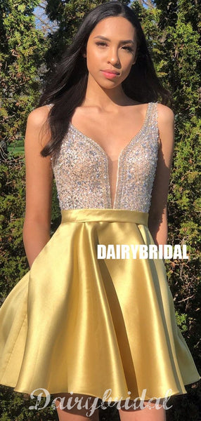 A-line Yellw Satin Backless Sequin Sleeveless Homecoming Dress, FC4013