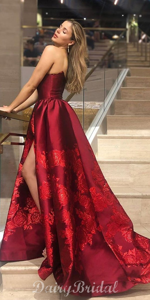 Charming A-line Satin Backless Applique Prom Dresses, FC4014