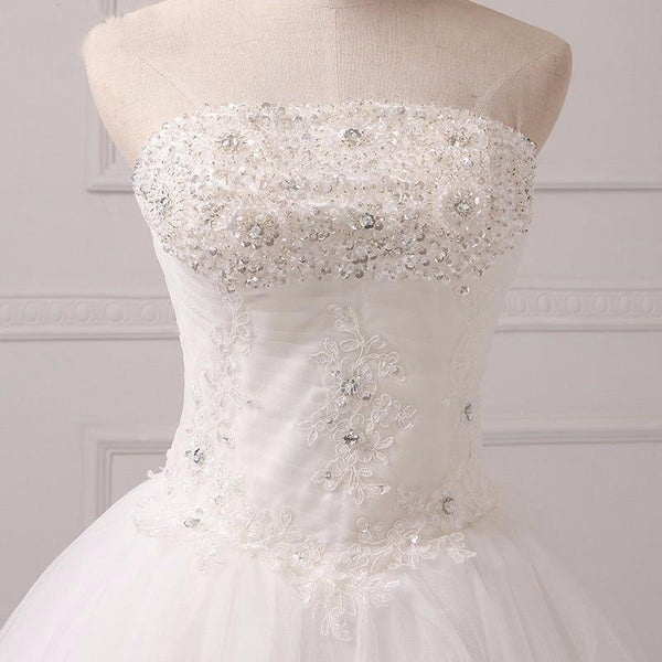 Long Wedding Dress, Tulle Wedding Dress, A-Line Bridal Dress, Sweet Heart Wedding Dress, Beading Wedding Dress, Applique Wedding Dress,  LB0401