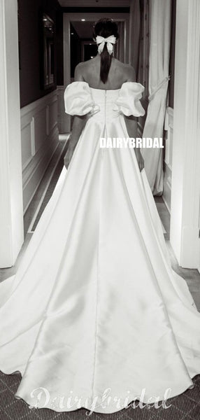 Elegant A-line Satin Floor-Length Straight Neckline Wedding Dresses, FC4022