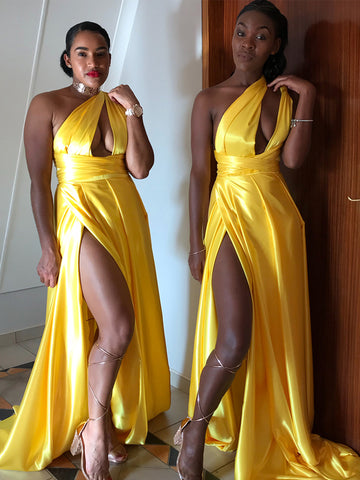 Convertible Bright Yellow One Shoulder A-line Sexy High Slit Backless Bridesmaid Dress, FC4051