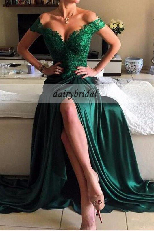 Off Shoulder Lace Prom Dress, Sexy Slit Satin Green Prom Dress, D405
