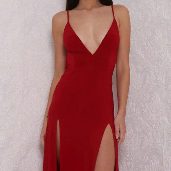 Long Prom Dresses, Jersey Prom Dresses, Spaghetti Straps Prom Dresses, V-Neck Evening Dresses, slit Prom Dresses , Floor-Length Prom Dress, Sexy Party Dress, LB0405