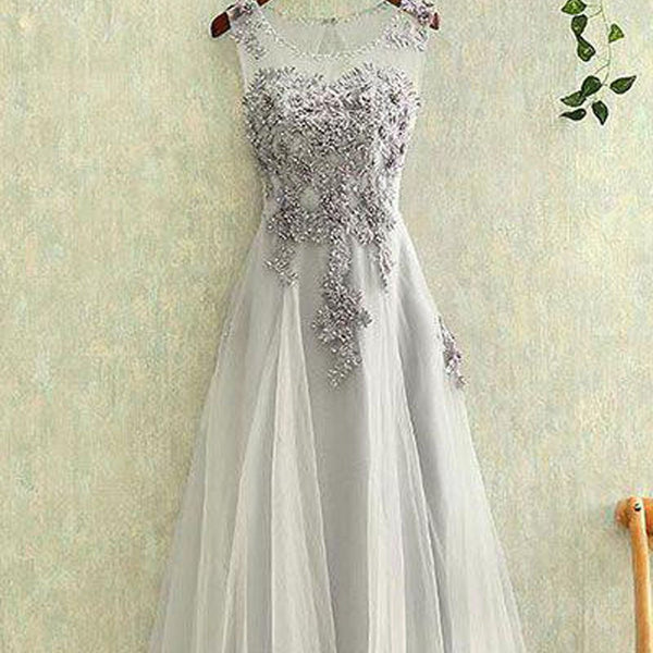 New Arrival A Line Charming gray tulle lace Sleeveless Open Back Applique Floor-Length prom dress,220041
