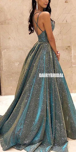 Charming A-line Backless Unique Designed Sleeveless Prom Dresses, FC4123