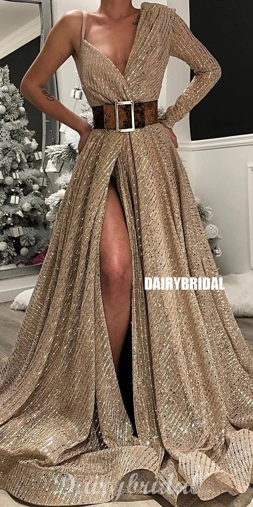 Unique Long Sleeve Sequin A-line Slit V-neck Prom Dresses, FC4143