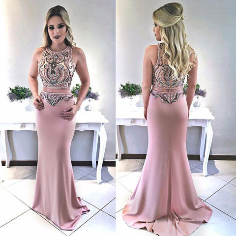 Charming Two Pieces Beaded Prom Dress, Satin Mermaid Prom Dress, D414