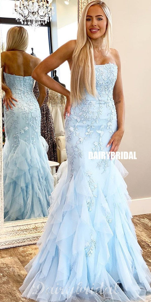 Honest Lace Straight Neckline Mermaid Backless Tulle Prom Dresses, FC4174
