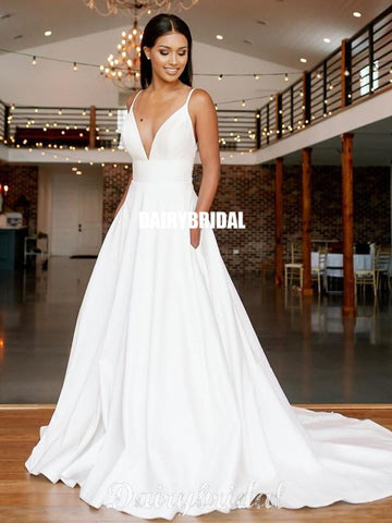 Simple A-line Spaghetti Straps Satin Sexy Deep V-neck Lace Wedding Dresses, FC4178