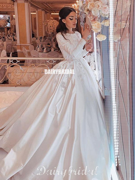 Luxury A-line Satin Long Sleeves Lace Appliques Wedding Dresses, FC4188