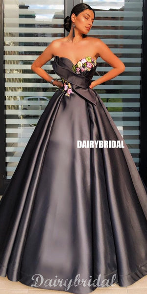 Black Satin Sweetheart A-line Backless Applique Stunning Prom Dresses, FC4197