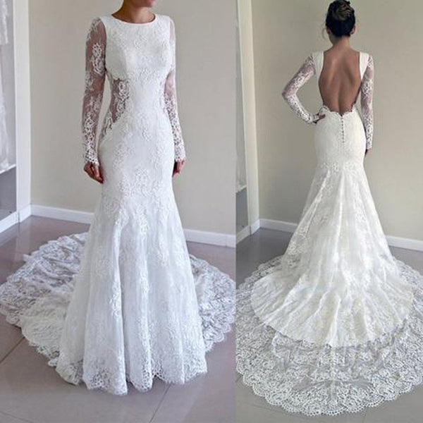Sexy Full Sleeve Open Back Beautiful Affordable Lace Wedding Dresses