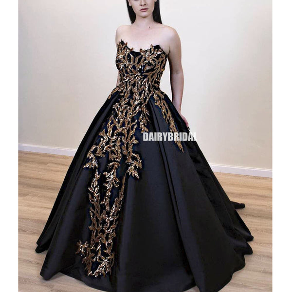 Black Satin A-line Backless Applique Charming Prom Dresses, FC4200