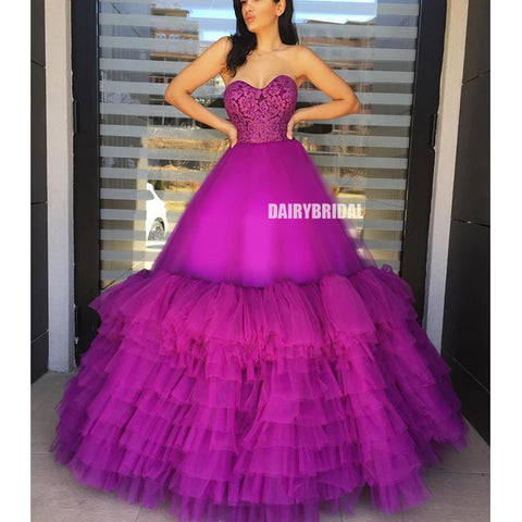 Elegant A-line Tulle Sweetheart Lace Long Prom Dresses, FC4204