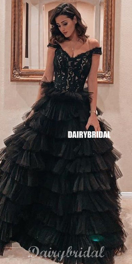 Black Lace Off Shoulder A-line Backless Tulle Prom Dresses, FC4216