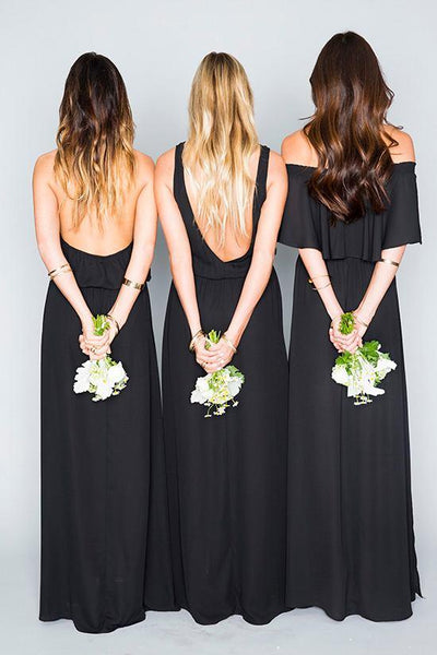 Long Bridesmaid Dress, Mismatched Bridesmaid Dress, Chiffon Bridesmaid Dress, A-Line Dress for Wedding, Side Split Bridesmaid Dress, Floor-Length Bridesmaid Dress, LB0421
