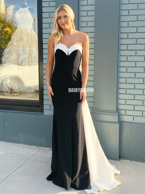 Sweetheart Mermaid Sleeveless Black&White Backless Prom Dresses, FC4233