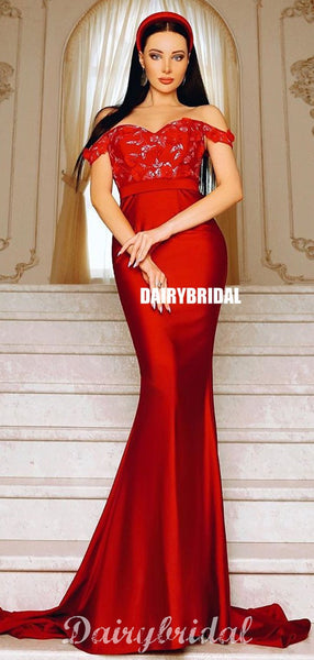 Off Shoulder Red Appliques Mermaid Backless Long Prom Dresses, FC4275