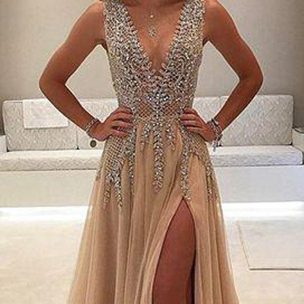 a3ea5c1e784 A-Line Deep V-Neck Sleeveless Charming Tulle Affordable Side Split Prom  Dresses with
