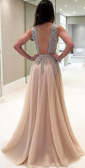 A-Line Deep V-Neck Sleeveless Charming Tulle Affordable Side Split Prom Dresses with Beading and Sweep Train,220043