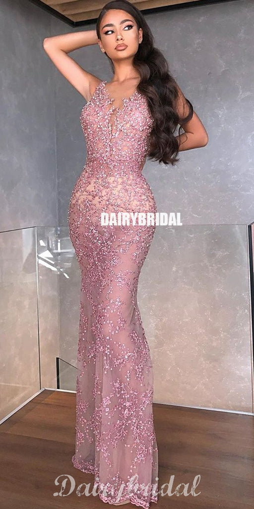 Mermaid Sleeveless Lace Applique Sexy Beaded Prom Dresses, FC4302