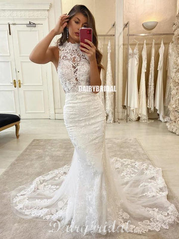 Sexy Mermaid Lace Sleeveless Open-Back Wedding Dresses, FC4311