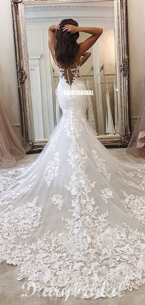 Gorgeous Mermaid Lace Spaghetti Straps Backless Applique Wedding Dresses, FC4312