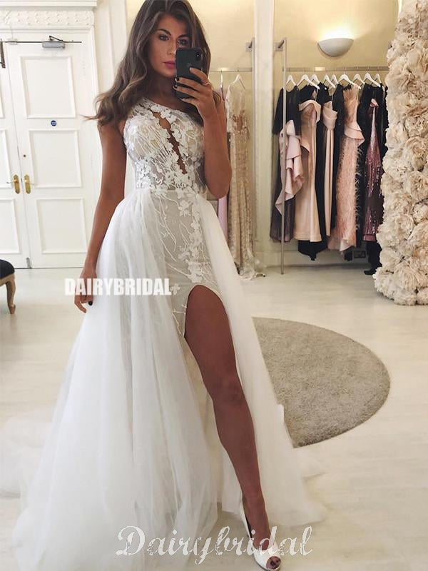 One Shoulder Mermaid Lace Sexy Slit Tulle Floor-length Wedding Dresses, FC4313