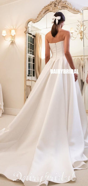 Honest A-line Satin Straight Neckline Backless Wedding Dresses, FC4320