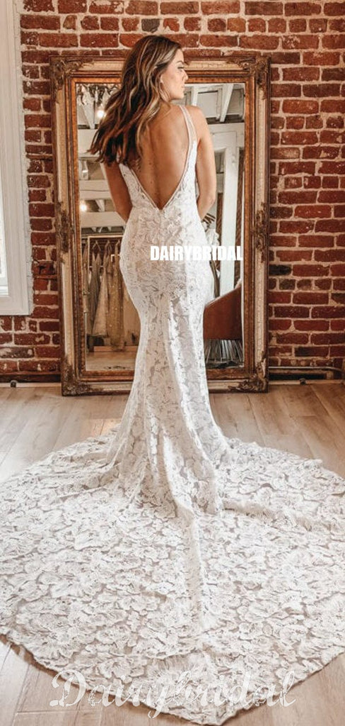 Stunning Mermaid Lace Sexy V-neck Sleeveless V-back Wedding Dresses, FC4358