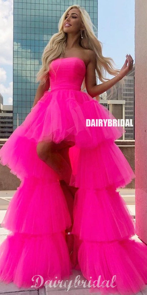 Stunning A-line Tulle High-low Backless Straight Neckline Prom Dresses, FC4360