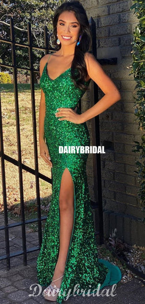 Sparkle Mermaid Sleeveless Charming Sequin Slit Prom Dresses, FC4367