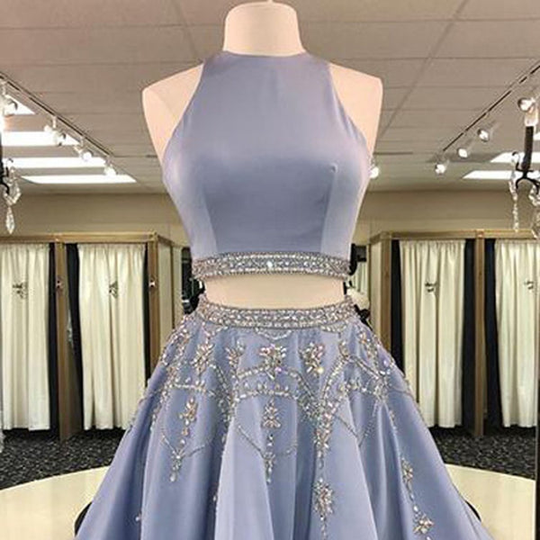 Short Homecoming Dress,  Soft Satin Homecoming Dress, Two Pieces Homecoming Dress, Open-Back Junior School Dress, Knee-Length Homecoming Dress, Beading Homecoming Dress, LB0438