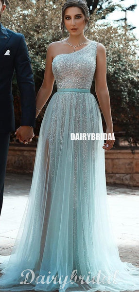 New Arrival One Shoulder Sparkle Sequin Tulle Slit Prom Dress, FC4390