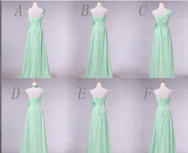 Mismatched Mint Green Elegant Long Bridesmaid Dresses,2017 Chiffon Wedding Party Dress,220044