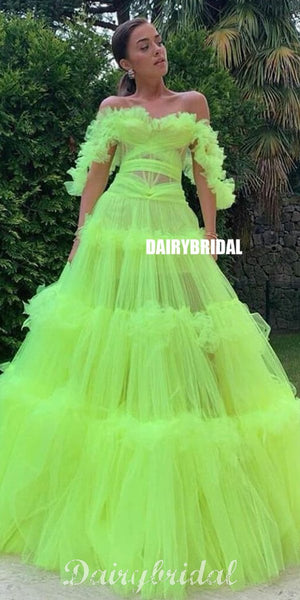 Charming Off Shoulder A-line Tulle Backless Puffy Prom Dresses, FC4423