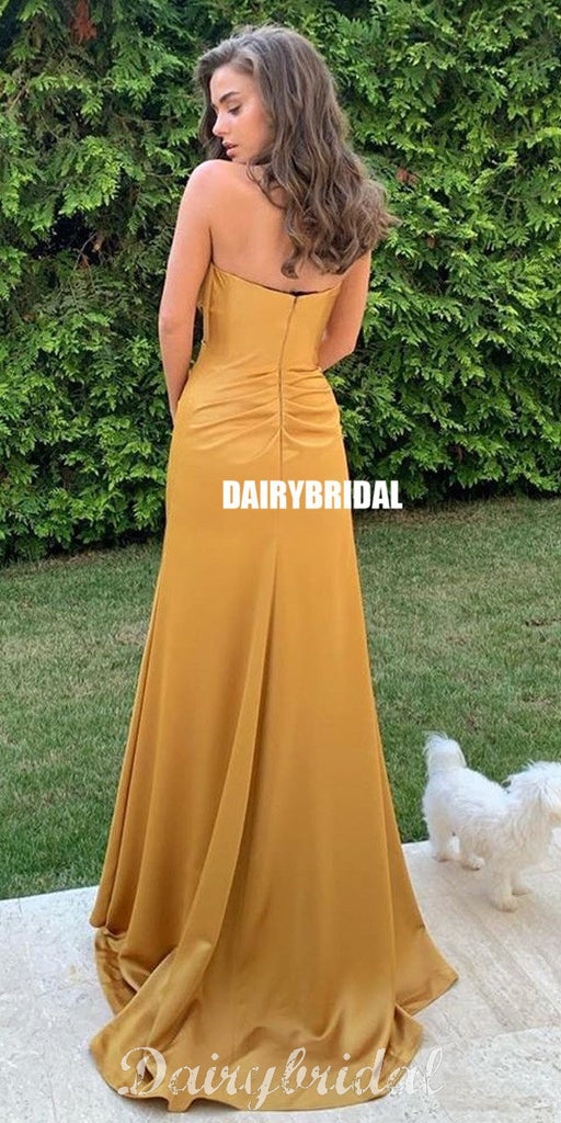 New Arrival Straight Neckline Backless Pleated Elastic Satin Prom Dresses, FC4424