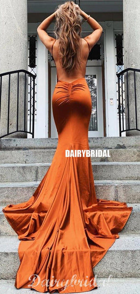 Sexy Deep V-neck Mermaid Backless Spaghetti Straps Prom Dresses, FC4443